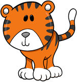Tiger Vector Illustration. Cute Wild Tiger Vector Illustration Stock Photos