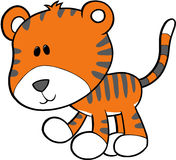 Tiger Vector Illustration. Cute Wild Tiger Vector Illustration Royalty Free Stock Image