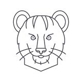 Tiger vector line icon, sign, illustration on background, editable strokes stock illustration