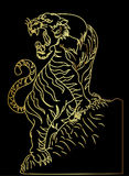 Tiger vector tattoo design on black background. Outline and doodle art Tiger vector is on black background.Drawing tiger for tattoo Royalty Free Stock Photo