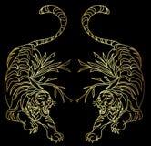 Tiger vector tattoo design on black background. Outline and doodle art Tiger vector is on black background.Drawing tiger for tattoo Royalty Free Stock Images