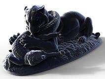 Tiger vs alligator sculpture Stock Images