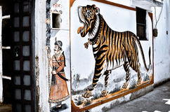 Tiger on wall Royalty Free Stock Image