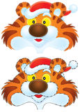 Tiger wearing a Christmas cap. A drawing with the black and color contours: a funny tiger wears a Christmas cap like Santa Claus Stock Photo