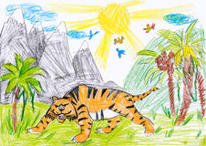 Tiger in the wild. child drawing Stock Image