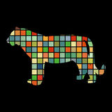 Tiger wildcat bird color silhouette animal Royalty Free Stock Image