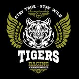 Tiger and Wings - logo graphic design. logo, Sticker, label, arm, motor sport. Stock Photography