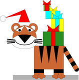Tiger winter xmas color 04 Royalty Free Stock Image