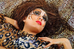 Tiger woman face Royalty Free Stock Photography