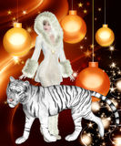 Tiger Woman on Orange Christmas Background Royalty Free Stock Photos