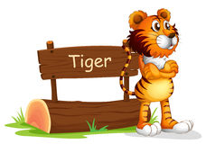 A tiger beside a wooden signboard Royalty Free Stock Images