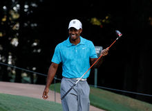 Tiger Woods. Johns Creek, Georgia, USA - August 10, 2011: Tiger Woods walking on the course during practice rounds at the 2011 PGA Championship tournament Stock Photo