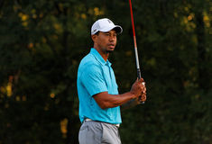 Tiger Woods. Johns Creek, Georgia, USA - August 10, 2011: Tiger Woods waits to swing during practice rounds at the 2011 PGA Championship tournament Stock Photos