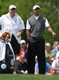 Tiger Woods and caddie Steve Williams. Tiger Woods fires long time caddie Steve Williams Stock Images