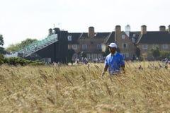 Tiger Woods en hierbas en Muirfield Imágenes de archivo libres de regalías