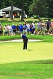 Tiger Woods pro golfer. Crowd is quiet as Tiger Woods prepares to putt the ball at the PGA professional golf event, Northeast Ohio, United States Stock Photography