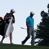 Tiger Woods und Byron Bell Stockfoto