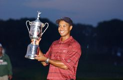 Tiger Woods-US Open 2002 Winner. Tiger Woods Holding up his 2002 US Open Trophy win Stock Image