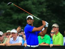 Tiger Woods. Watches his shot hit the green as the crowd enjoys the view at the country club golf course Stock Images