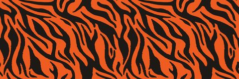 Tiger or zebra fur repeating texture. Animal skin stripes, jungle wallpapers. Seamless vector pattern. Animal skin print, seamless texture. Tiger fur, orange royalty free illustration