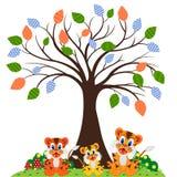 Tigerfamilie am Park Lizenzfreies Stockfoto