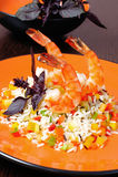 Tigergarnelen, Garnelen, mit Reis und Gemüse Lizenzfreie Stockfotos