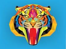 Tigerhuvud med geometrisk stil Arkivbild
