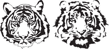 Tigerköpfe in der schwarzen Interpretation Lizenzfreies Stockfoto