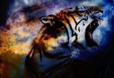 Tigermalereicollage auf abstraktem Wolkenhintergrund, wild lebende Tiere Stockbild