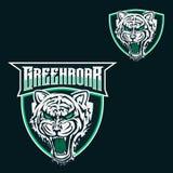 Tigermaskottchen-Logoschablone für Sport, Spielmannschaft, Firmenlogo, Collegeteamlogo stock abbildung