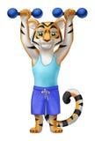 Tigermorgon i sportswearen som gör övning Stock Illustrationer