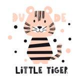 Tigern behandla som ett barn den gulliga tryckuppsättningen Kallt afrikanskt djur royaltyfri illustrationer