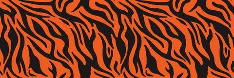 Tigern eller sebran pälsfodrar upprepa textur Band för djur hud, djungeltapeter seamless vektor för modell royaltyfri illustrationer