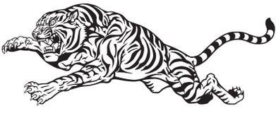 Tigern hoppar svartvitt vektor illustrationer