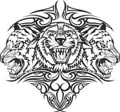 Tigers. Vector illustration heads tigers with patterns Stock Photos