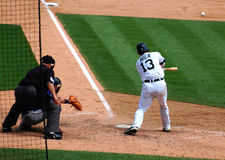 Tigers game July 11, 2010, Alex Avila. DETROIT, MI - JULY 11: Alex Avila of the Detroit Tigers hits the ball during a game against the Minnesota Twins on July 11 Stock Image
