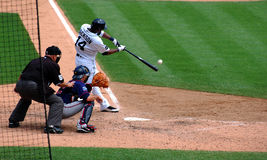 Tigers game July 11 2010,  Austin Jackson. DETROIT, MI - JULY 11: Austin Jackson of the Detroit Tigers hits the ball during a game against the Minnesota Twins on Royalty Free Stock Image