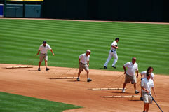 Tigers game July 11 2010,  groundskeepers. DETROIT, MI - JULY 11: Groundskeepers at work during the Detroit Tigers game against the Minnesota Twins on July 11 Stock Image