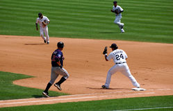 Tigers game July 11 2010,  Miguel Cabrera at first. DETROIT, MI - JULY 11: First baseman Miguel Cabrera of the Detroit Tigers in action during a game against the Stock Photos