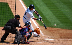 Tigers game July 11 2010,  Miguel Cabrera hits the. DETROIT, MI - JULY 11: Miguel Cabrera of the Detroit Tigers hits the ball during a game against the Minnesota Royalty Free Stock Photo