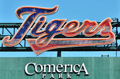 Tigers Interactive Script Above Scoreboard in Detroit. Programmable Tigers script is alive with dancing lights during the ballgames Stock Photo