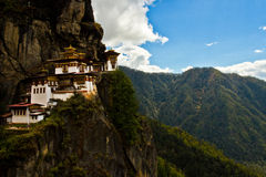 The 'Tigers Nest' Monastery with blue skies and cloud, Paro, Bhutan Stock Image