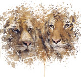 Tigers Portrait watercolor Royalty Free Stock Photography