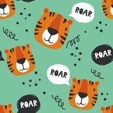 Seamless pattern with tigers who speak roar royalty free illustration