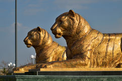 Tigers statues in Samarkand Stock Photo