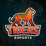 Tigersport-Logovektor Maskottchendesignschablone Fußball- oder Baseballillustration Collegeligainsignien, Highschool Stockfotos