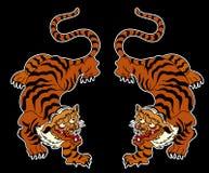 Tigervektor-Tätowierungsdesign auf schwarzem Hintergrund Lizenzfreie Stockfotografie