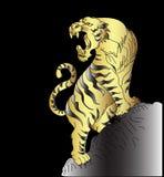Tigervektor-Tätowierungsdesign auf schwarzem Hintergrund Lizenzfreie Stockbilder