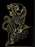 Tigervektor-Tätowierungsdesign auf schwarzem Hintergrund Lizenzfreies Stockfoto