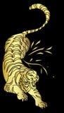 Tigervektor-Tätowierungsdesign auf schwarzem Hintergrund Stockfotografie